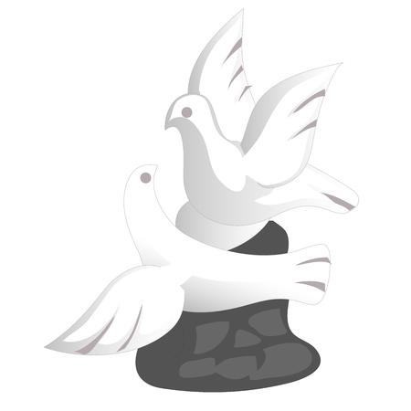 フラットなデザインの磁器鳩お土産グッズ。平和のシンボルし、広げた翼で飛ぶ 2 羽の鳥が大好き。白に小さなガラスの置物が分離したハトを飛ん