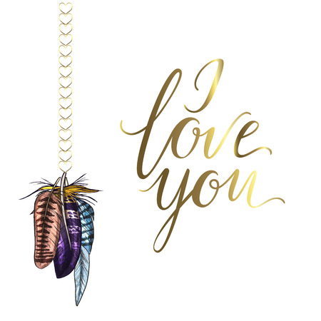Decorative card with colorful detailed bird feathers. I love you lettering. Isolated on white background. Vector