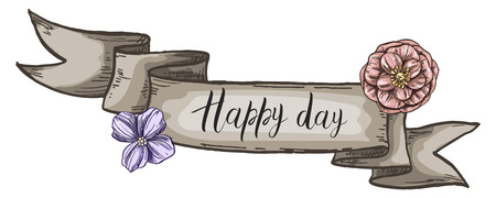Decorative card with kraft ribbon and wildflowers. Happy Day lettering. Isolated on white background. Vector