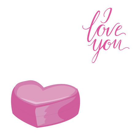 romanticist: Decorative card with simple pink heart. I Love You lettering. Isolated on white background. Vector