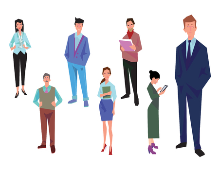 Office workers, employees, managers and team leader. Business people in casual and office clothes. Isolated on white. Business Icons. Business design. Vector illustration.
