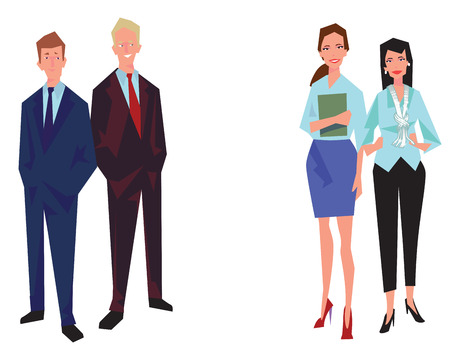 Four office workers, employees, managers. Two men and two women. Business people in casual clothes. Isolated on white. Business Icons. Business design. Vector