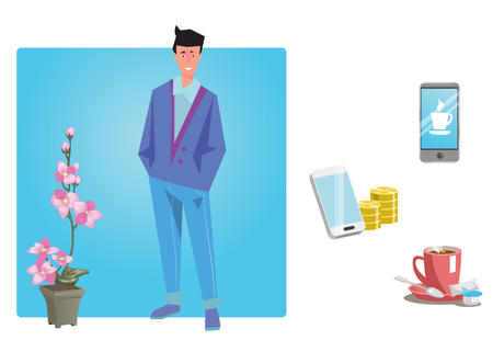 plant stand: Businessman, worker, employee in casual clothes stands with hands in pockets. Business Icons. Business design. Vector