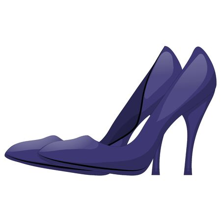 heelpiece: Pair of dark blue shoes with high heels. Isolated on white background. Vector