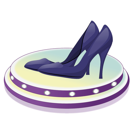 Pair of dark blue shoes with high heels on a stand with lamps. Isolated on white background. Vector