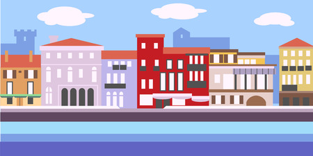 Illustration of European cityscape in simple style. Traditional landscape. Houses in the old European style. Illustration