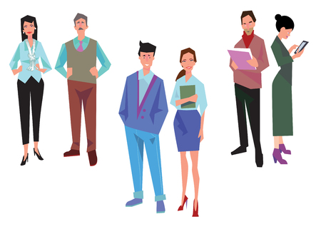 superintendent: Couples of office workers, employees, managers and team leader. Business people in casual and office clothes. Isolated on white. Business Icons. Business design. Vector Illustration