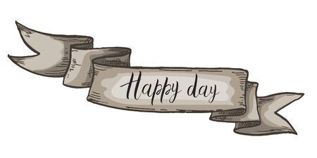 Decorative card with kraft ribbon. Happy Day lettering. Isolated on white background. Vector