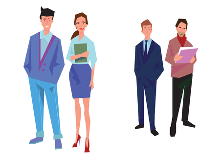 Four office workers, employees, managers. Business people stand. Isolated on white. Business Icons. Business design Vector