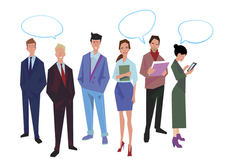 Group of office workers, employees, managers with speech bubble. Business people in casual and office clothes. Isolated on white. Business Icons. Business design. Vector Illustration