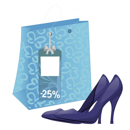 heelpiece: Illustration with shoe package and pair of high-heel shoes. Discount tag. Isolated on white background. Vector Illustration