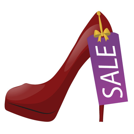 Illustration of red high-heel shoe with discount tag. Sale labeI. Isolated on white background. Vector Illustration