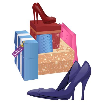 heelpiece: Illustration with shoe boxes and pairs of high-heel shoes. Isolated on white background. Vector
