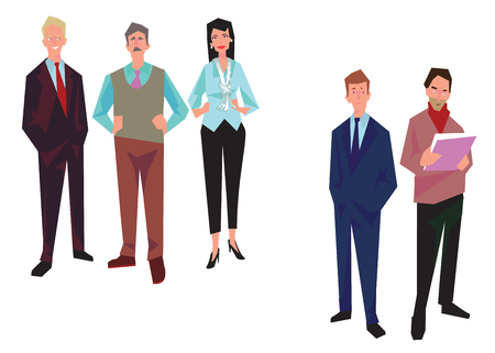 Group of office workers, employees, managers and. Business people in casual and office clothes. Isolated on white. Business Icons. Business design. Vector Stock Illustratie