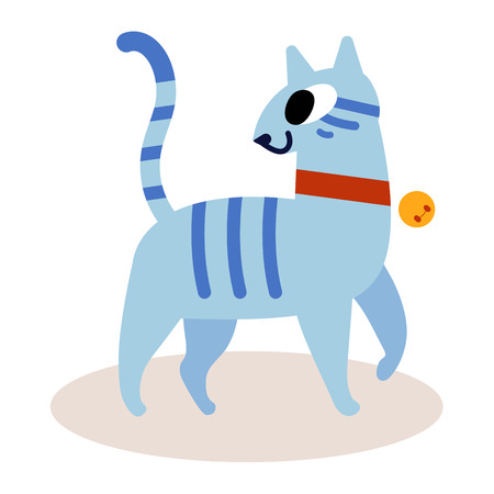 Cute striped blue cartoon cat isolated on white background. In a red collar with a bell. Simple modern flat style vector Illustration