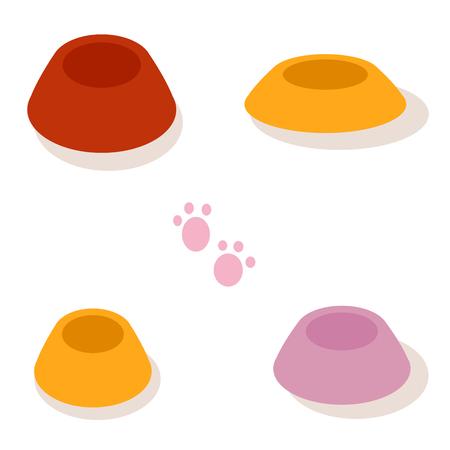 plastico pet: Conjunto de tazones de fuente multicolores para las mascotas aisladas en el fondo blanco. Vector