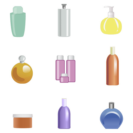 assortment: Set of body care products isolated on white background. Vector