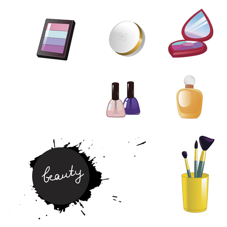 Set of decorative cosmetics isolated on white background. Beauty inscription in black splash. Vector