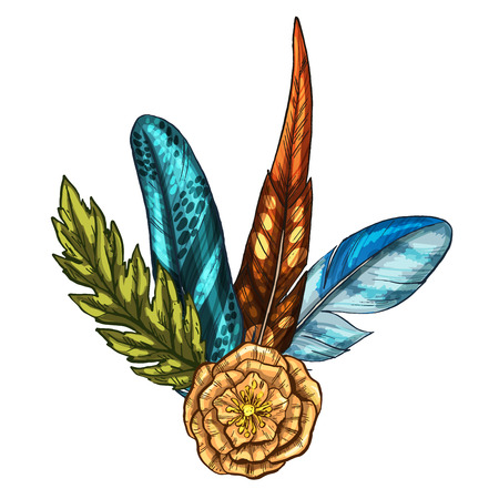 Hand painted composition of feathers, leaf and flower isolated on white background. Art design element, hand drawn. Vector