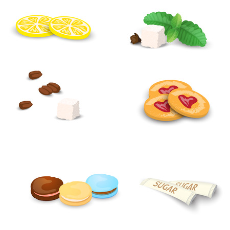 Set of sweets for tea or coffee. Small additions for hot drinks isolated on white background. Vector Illustration