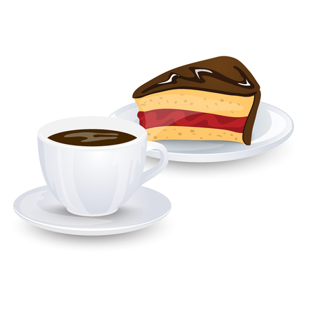 brewed: A cup of coffee and a piece of chocolate cake with jam isolated on white background. Vector