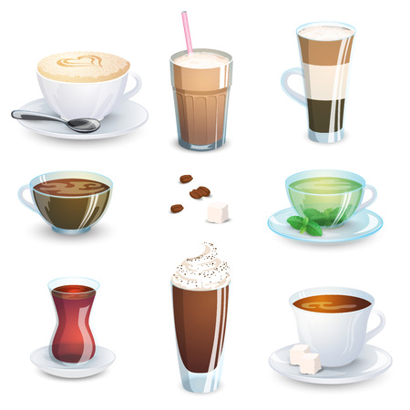 Set of non-alcoholic beverages - tea, herbal tea, hot chocolate, latte, mate, coffee. Vector illustration isolated Illustration