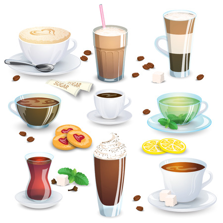Set of non-alcoholic beverages - tea, herbal tea, hot chocolate, latte, mate, coffee, and small additions for hot drinks. Vector illustration, isolated