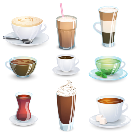 assortment: Set of non-alcoholic beverages - tea, herbal tea, hot chocolate, latte, mate, coffee. Vector illustration isolated Illustration
