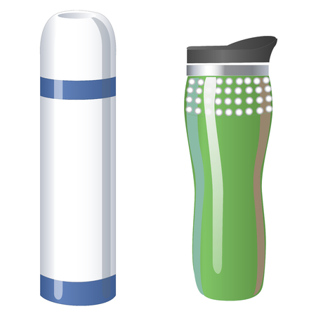 Thermos flask icons. Tumbler thermo cup isolated on a white background. Vector