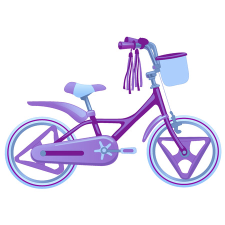 Cute kids bicycle. Vector illustration isolated on white