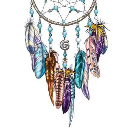 Dreamcatcher ornato disegnato a mano con piume, pietre preziose. Astrologia, simbolo di spiritualità. Elemento tribale etnico.