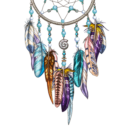 Hand drawn ornate Dreamcatcher with feathers, gemstones. Astrology, spirituality symbol. Ethnic tribal element. Illustration