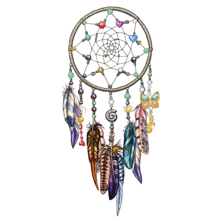 Hand drawn ornate Dreamcatcher with feathers, jewels and colorful gemstones. Astrology, spirituality symbol. Ethnic tribal element. Illustration