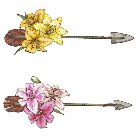 Two arrows with colorful flowers lilies isolated on white background. Vector Illustration