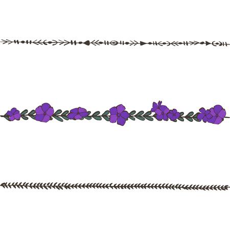 Doodle ligne florale avec des violettes. Éléments de design fleur, bordure florale. Vecteur