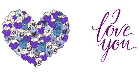 Corazón de flores azules y púrpuras de los pensamientos aisladas en el fondo blanco y poner letras TE AMO. Vector Foto de archivo - 82603826