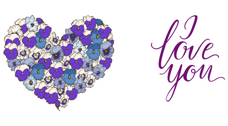 Heart of blue and purple pansies flowers isolated on white background and lettering I LOVE YOU. Vector