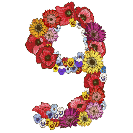 Nine digit made of different flowers. Floral element of colorful alphabet made from flowers. Vector