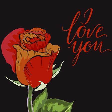 orange rose: Close-up red and orange rose bud on black background. Lettering I LOVE YOU. Botanical vector