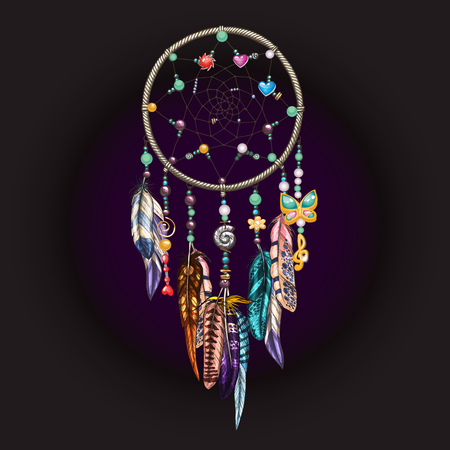 Hand drawn ornate Dreamcatcher with feathers, jewels and colorful gemstones on black. Astrology, spirituality, magic symbol. Ethnic tribal element. Vektorové ilustrace