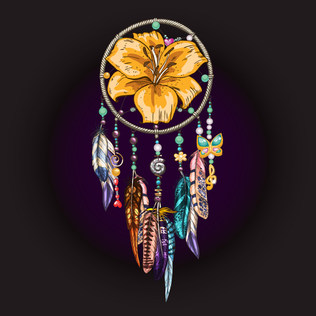 Hand drawn ornate Dreamcatcher with feathers, jewels, colorful gemstones and lily flower on black