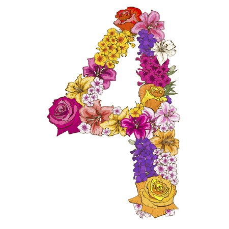 Four digit made of different flowers. Floral element of colorful alphabet made from flowers. Vector