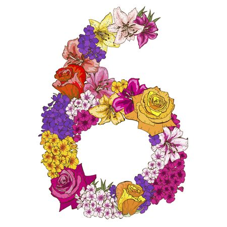 Six digit made of different flowers. Floral element of colorful alphabet made from flowers. Vector