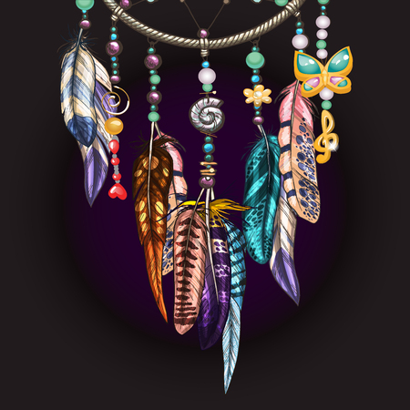Hand drawn ornate Dreamcatcher with feathers, jewels and colorful gemstones. Ornamental bird feathers isolated on black