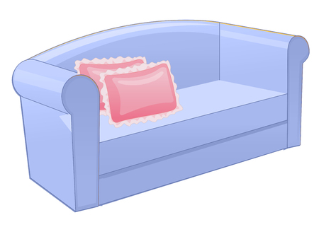 home office interior: Blue sofa with pink pillow isolated on white background. Illustration