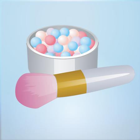 Realistic mockup open bronzing pearls box with makeup brush applicator. Illustration