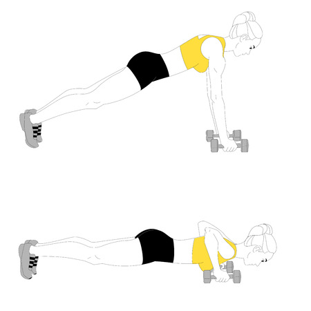 The girl is doing sports exercises with dumbbells isolated on white background.