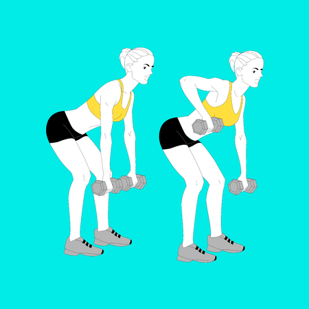The girl is doing sports exercises with dumbbells isolated on blue background.