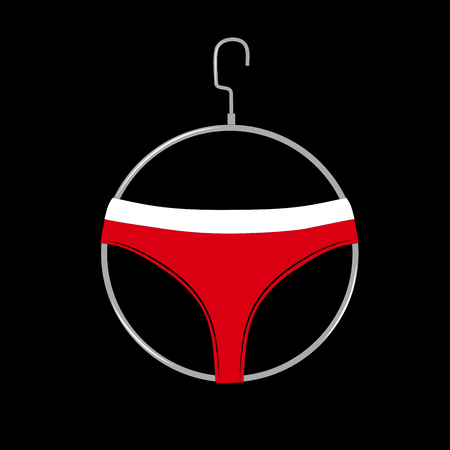 Red womens casual panties on hanger icon. Female sexy underwear isolated on black background.