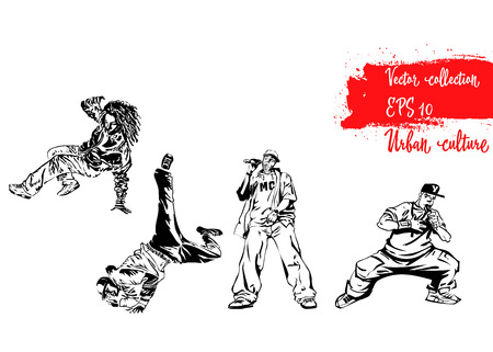Set of illustrations with representatives of Urban Culture. Breakdancers and rapers. Extreme theme modern print. Vector design elements. Illustration